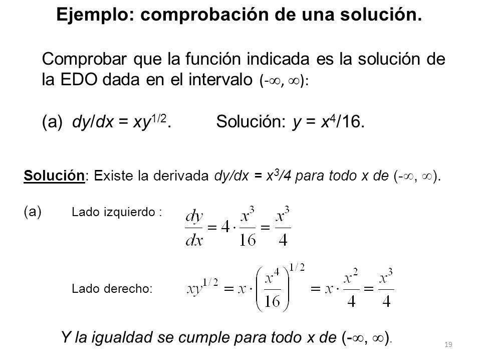 19 Comprobar que la función indicada es la solución de la EDO dada en el intervalo (-, ): (a) dy/dx = xy 1/2. Solución: y = x 4 /16. Solución: Existe