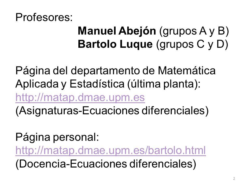 2 Profesores: Manuel Abejón (grupos A y B) Bartolo Luque (grupos C y D) Página del departamento de Matemática Aplicada y Estadística (última planta):