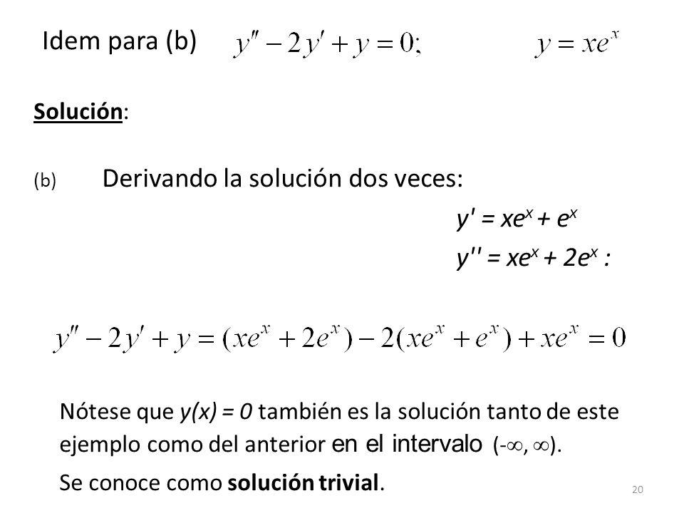 20 Solución: (b) Derivando la solución dos veces: y' = xe x + e x y'' = xe x + 2e x : Nótese que y(x) = 0 también es la solución tanto de este ejemplo