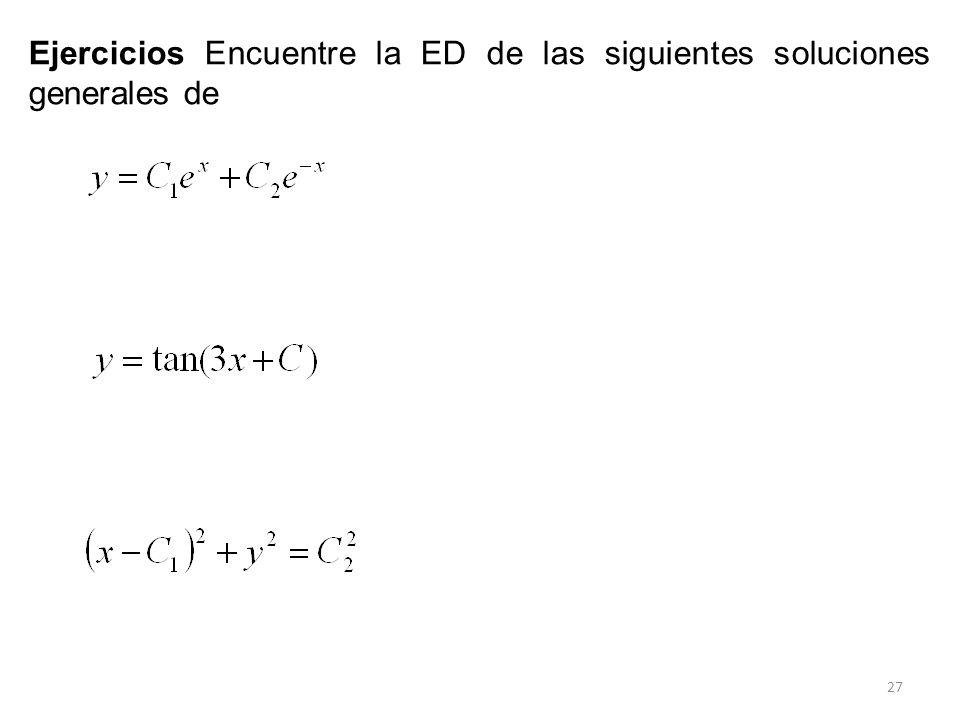 27 Ejercicios Encuentre la ED de las siguientes soluciones generales de