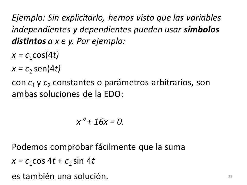33 Ejemplo: Sin explicitarlo, hemos visto que las variables independientes y dependientes pueden usar símbolos distintos a x e y. Por ejemplo: x = c 1