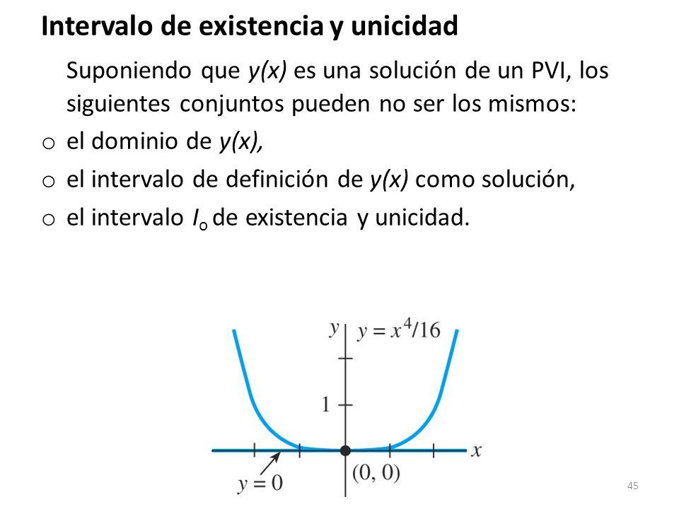 45 Intervalo de existencia y unicidad Suponiendo que y(x) es una solución de un PVI, los siguientes conjuntos pueden no ser los mismos: o el dominio d