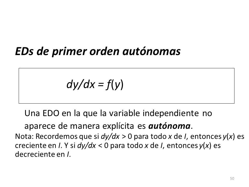 50 EDs de primer orden autónomas dy/dx = f(y) Una EDO en la que la variable independiente no aparece de manera explícita es autónoma. Nota: Recordemos