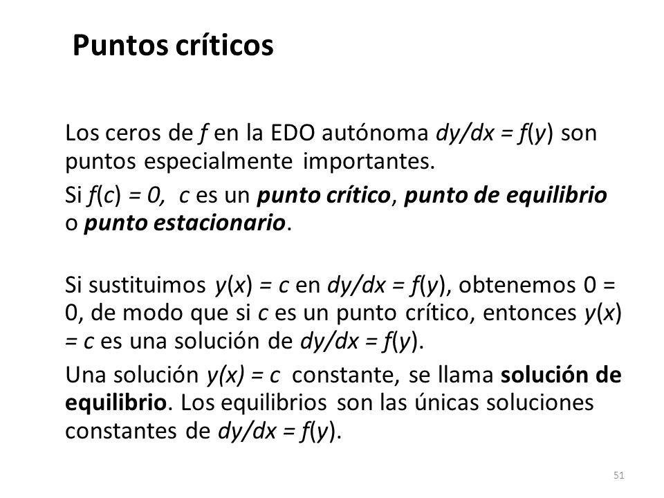 51 Los ceros de f en la EDO autónoma dy/dx = f(y) son puntos especialmente importantes. Si f(c) = 0, c es un punto crítico, punto de equilibrio o punt