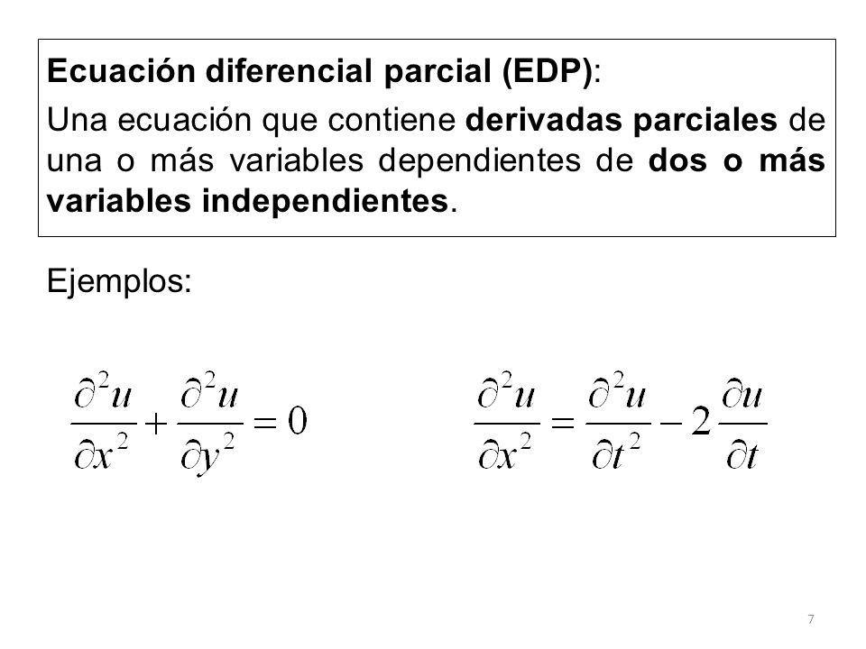 7 Ecuación diferencial parcial (EDP): Una ecuación que contiene derivadas parciales de una o más variables dependientes de dos o más variables indepen