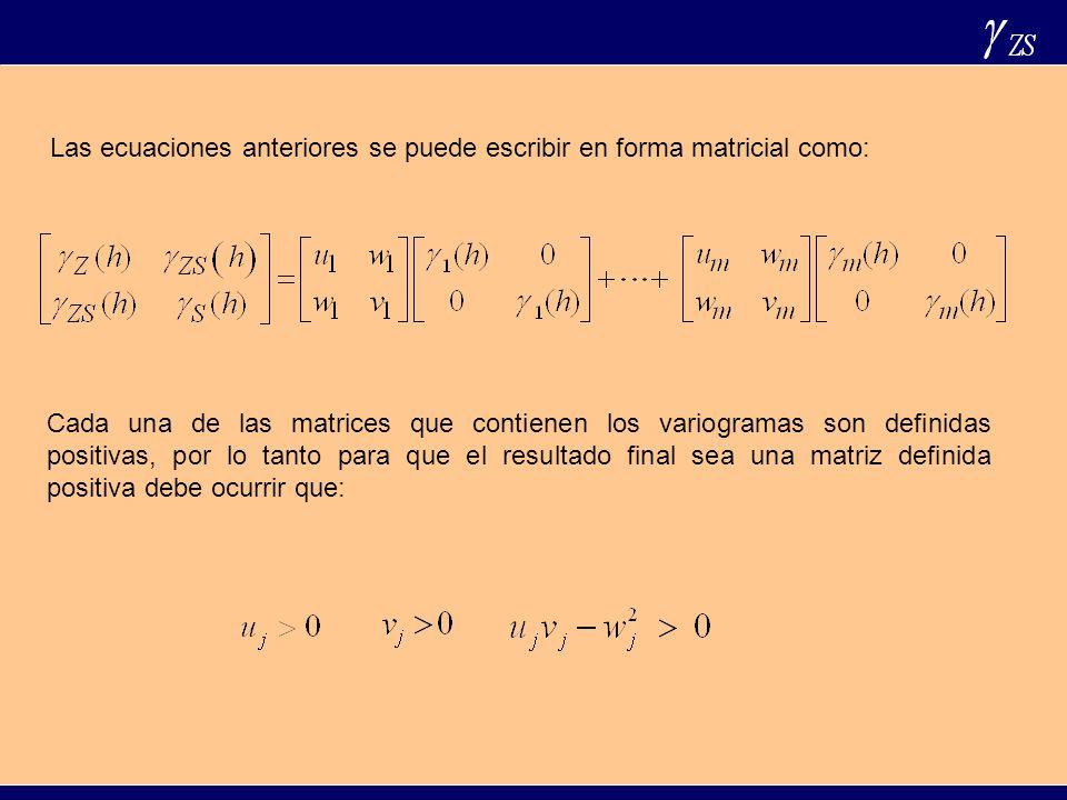 Las ecuaciones anteriores se puede escribir en forma matricial como: Cada una de las matrices que contienen los variogramas son definidas positivas, p
