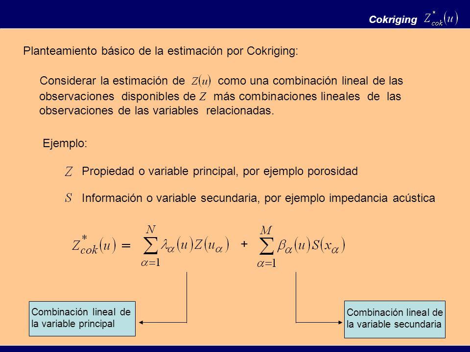 Planteamiento básico de la estimación por Cokriging: Cokriging Considerar la estimación decomo una combinación lineal de las observaciones disponibles