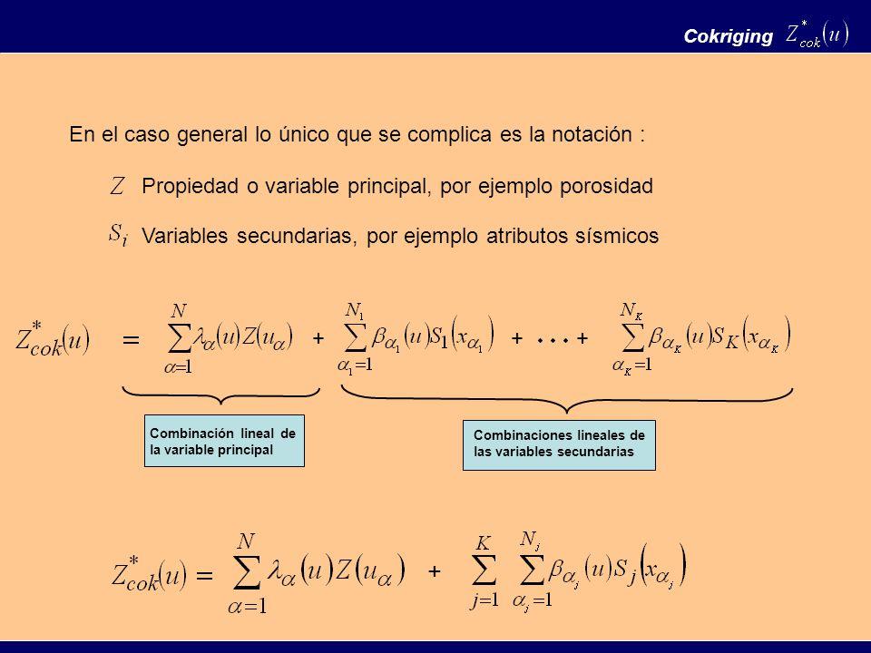 Cokriging Propiedad o variable principal, por ejemplo porosidad Variables secundarias, por ejemplo atributos sísmicos En el caso general lo único que