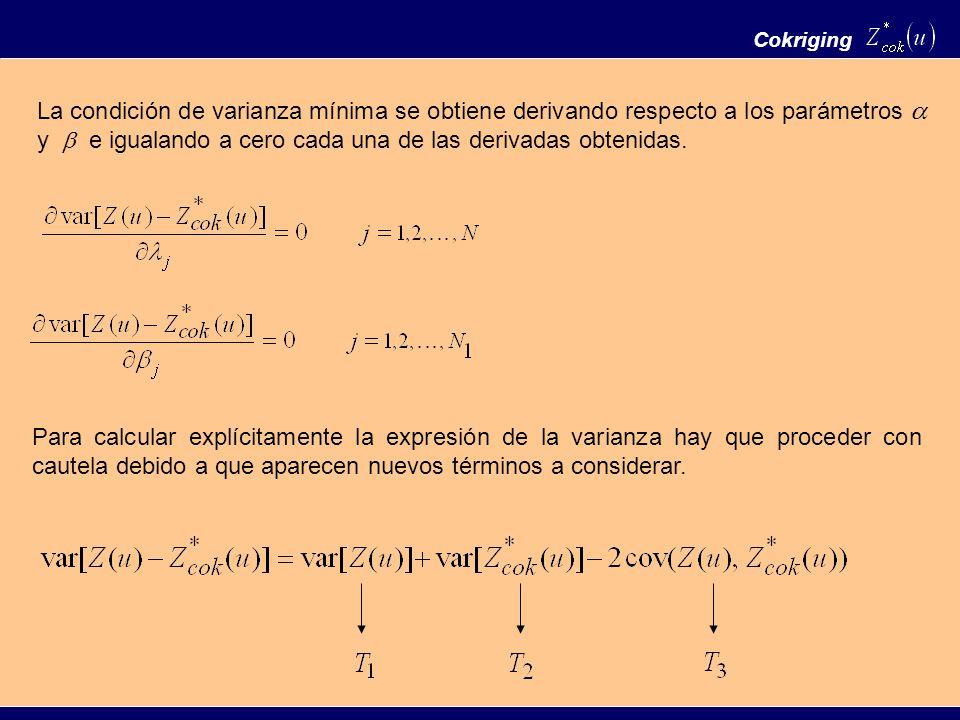 Cokriging La condición de varianza mínima se obtiene derivando respecto a los parámetros y e igualando a cero cada una de las derivadas obtenidas. Par