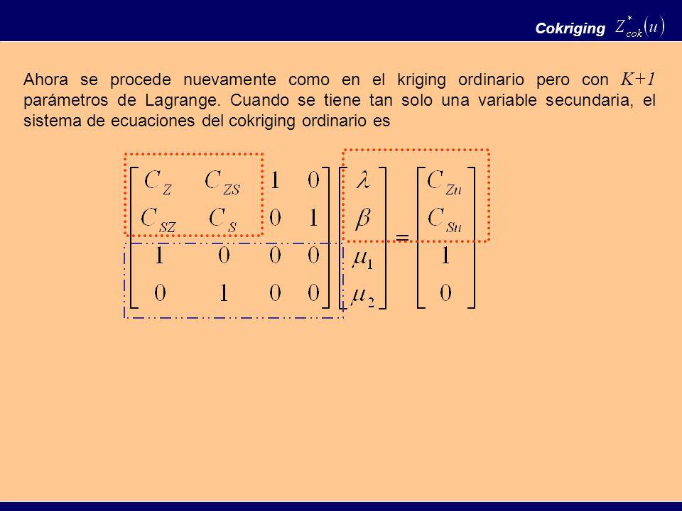 Cokriging Ahora se procede nuevamente como en el kriging ordinario pero con K+1 parámetros de Lagrange. Cuando se tiene tan solo una variable secundar