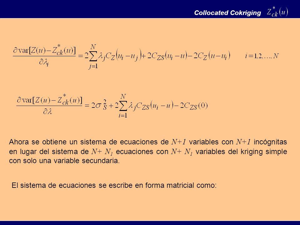 Collocated Cokriging Ahora se obtiene un sistema de ecuaciones de N+1 variables con N+1 incógnitas en lugar del sistema de N+ N 1 ecuaciones con N+ N