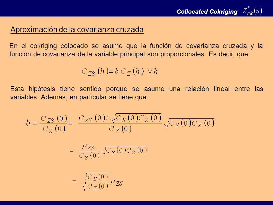 Collocated Cokriging Aproximación de la covarianza cruzada En el cokriging colocado se asume que la función de covarianza cruzada y la función de cova