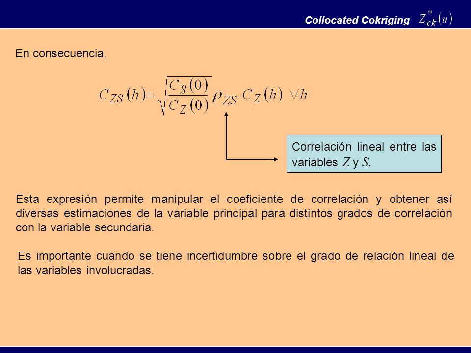 En consecuencia, Collocated Cokriging Correlación lineal entre las variables Z y S. Esta expresión permite manipular el coeficiente de correlación y o