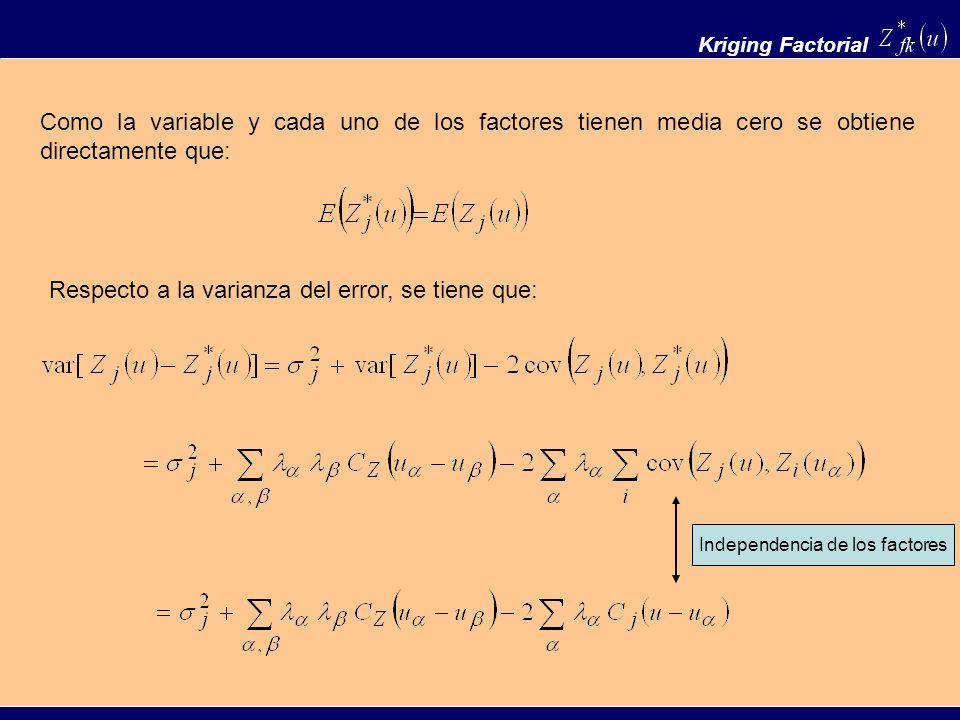 Kriging Factorial Como la variable y cada uno de los factores tienen media cero se obtiene directamente que: Respecto a la varianza del error, se tien