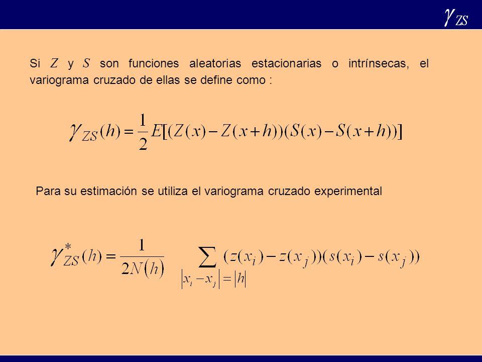 1) 2) 3) El variograma cruzado es una función simétrica Algunas propiedades del variograma cruzado son: 4) Relación con la función de covarianza cruzada La función de covarianza cruzada se define como: