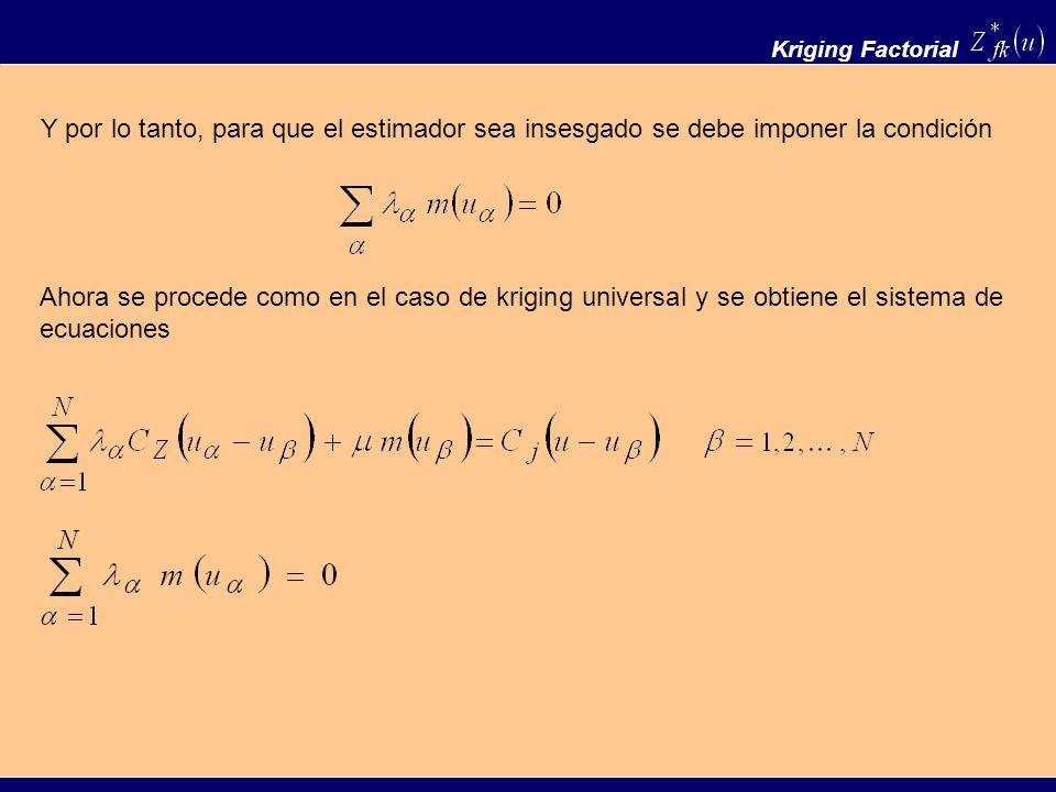 Y por lo tanto, para que el estimador sea insesgado se debe imponer la condición Kriging Factorial Ahora se procede como en el caso de kriging univers