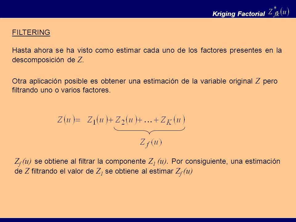 Kriging Factorial FILTERING Hasta ahora se ha visto como estimar cada uno de los factores presentes en la descomposición de Z. Otra aplicación posible