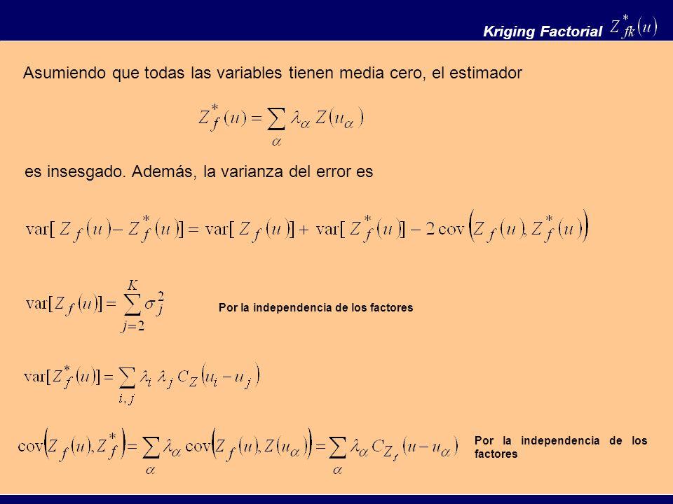 Kriging Factorial Asumiendo que todas las variables tienen media cero, el estimador es insesgado. Además, la varianza del error es Por la independenci