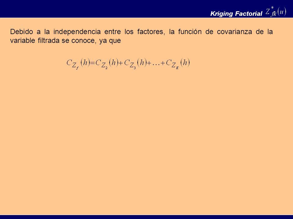 Debido a la independencia entre los factores, la función de covarianza de la variable filtrada se conoce, ya que