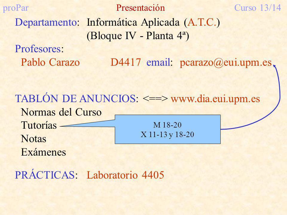 proParPresentaciónCurso 13/14 Departamento:Informática Aplicada (A.T.C.) (Bloque IV - Planta 4ª) Profesores: Pablo Carazo D4417 email: pcarazo@eui.upm.es TABLÓN DE ANUNCIOS: www.dia.eui.upm.es Normas del Curso Tutorías Notas Exámenes PRÁCTICAS:Laboratorio 4405 M 18-20 X 11-13 y 18-20