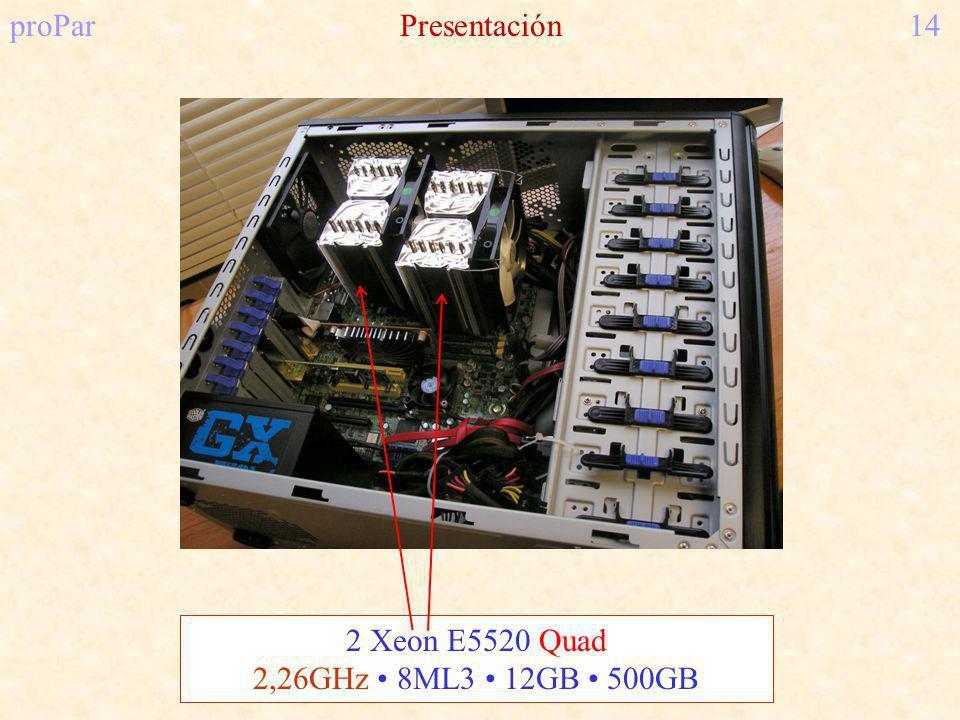 proParPresentación14 2 Xeon E5520 Quad 2,26GHz 8ML3 12GB 500GB