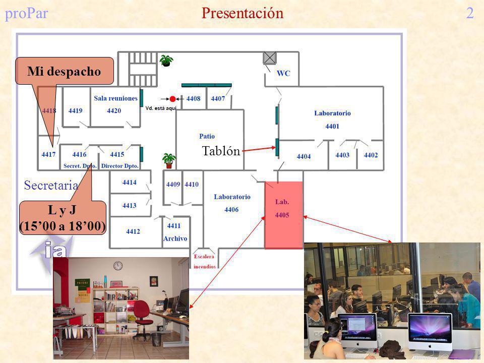proParPresentación2 Secretaria L y J (1500 a 1800) Mi despacho Tablón