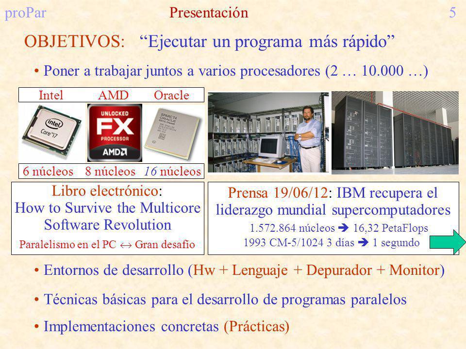 OBJETIVOS: Ejecutar un programa más rápido proParPresentación5 Poner a trabajar juntos a varios procesadores (2 … 10.000 …) Implementaciones concretas (Prácticas) Técnicas básicas para el desarrollo de programas paralelos Entornos de desarrollo (Hw + Lenguaje + Depurador + Monitor) Prensa 19/06/12: IBM recupera el liderazgo mundial supercomputadores 1.572.864 núcleos 16,32 PetaFlops 1993 CM-5/1024 3 días 1 segundo Libro electrónico: How to Survive the Multicore Software Revolution Paralelismo en el PC Gran desafío Intel AMD Oracle 6 núcleos 8 núcleos 16 núcleos