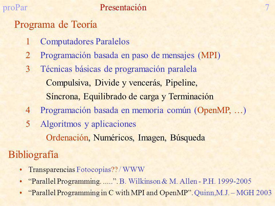 proParPresentación7 Programa de Teoría 1Computadores Paralelos 2Programación basada en paso de mensajes (MPI) 3Técnicas básicas de programación paralela Compulsiva, Divide y vencerás, Pipeline, Síncrona, Equilibrado de carga y Terminación 4Programación basada en memoria común (OpenMP, …) 5Algoritmos y aplicaciones Ordenación, Numéricos, Imagen, Búsqueda Bibliografía Transparencias Fotocopias .