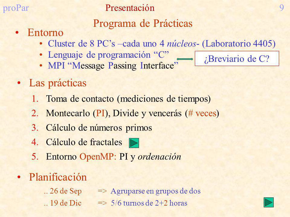 proParPresentación9 Planificación.. 26 de Sep=> Agruparse en grupos de dos.. 19 de Dic=> 5/6 turnos de 2+2 horas 1.Toma de contacto (mediciones de tie