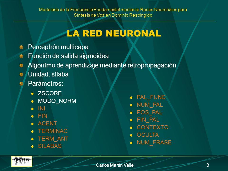 Modelado de la Frecuencia Fundamental mediante Redes Neuronales para Síntesis de Voz en Dominio Restringido Carlos Martín Valle3 LA RED NEURONAL Perce