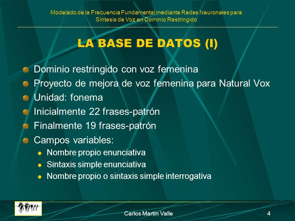 Modelado de la Frecuencia Fundamental mediante Redes Neuronales para Síntesis de Voz en Dominio Restringido Carlos Martín Valle15 ANÁLISIS DE LOS RESULTADOS FRASES 8, 9, 12 Y 14 (I) Oraciones enunciativas Se descarta la frase 8 por su gran error al modelar Cambio de estrategia en los experimentos Se fijan inicialmente los valores de las siguientes variables: TERMINAC=4 TERM_ANT=5 Frases cortas y largas Se elimina CONTEXTO=1