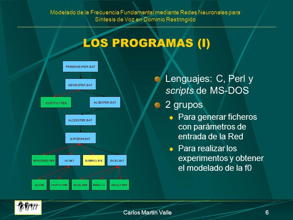 Modelado de la Frecuencia Fundamental mediante Redes Neuronales para Síntesis de Voz en Dominio Restringido Carlos Martín Valle6 LOS PROGRAMAS (I) Lenguajes: C, Perl y scripts de MS-DOS 2 grupos Para generar ficheros con parámetros de entrada de la Red Para realizar los experimentos y obtener el modelado de la f0