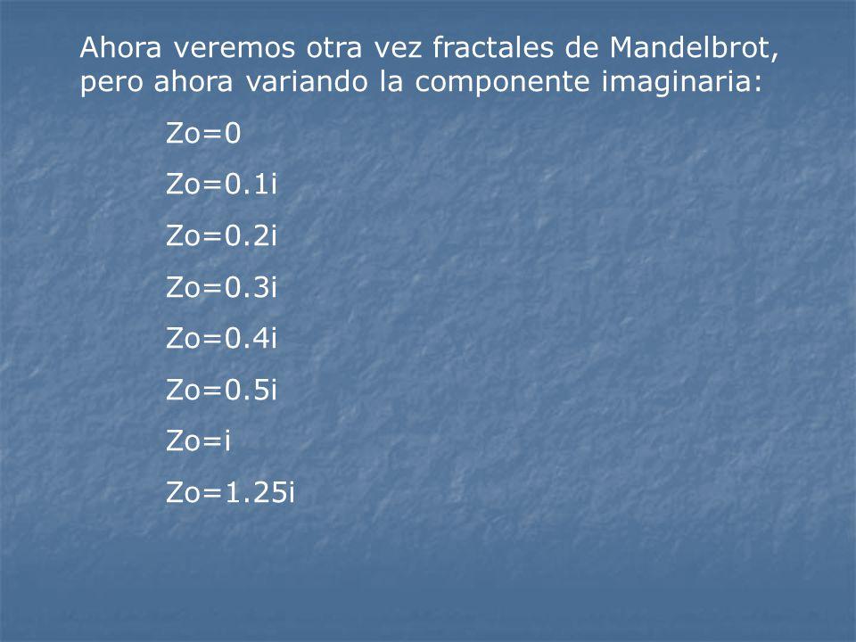 Ahora veremos otra vez fractales de Mandelbrot, pero ahora variando la componente imaginaria: Zo=0 Zo=0.1i Zo=0.2i Zo=0.3i Zo=0.4i Zo=0.5i Zo=i Zo=1.2