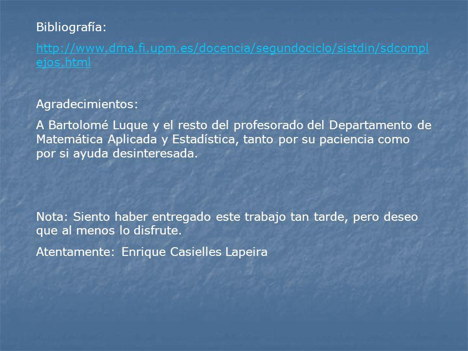 Bibliografía: http://www.dma.fi.upm.es/docencia/segundociclo/sistdin/sdcompl ejos.html Agradecimientos: A Bartolomé Luque y el resto del profesorado d
