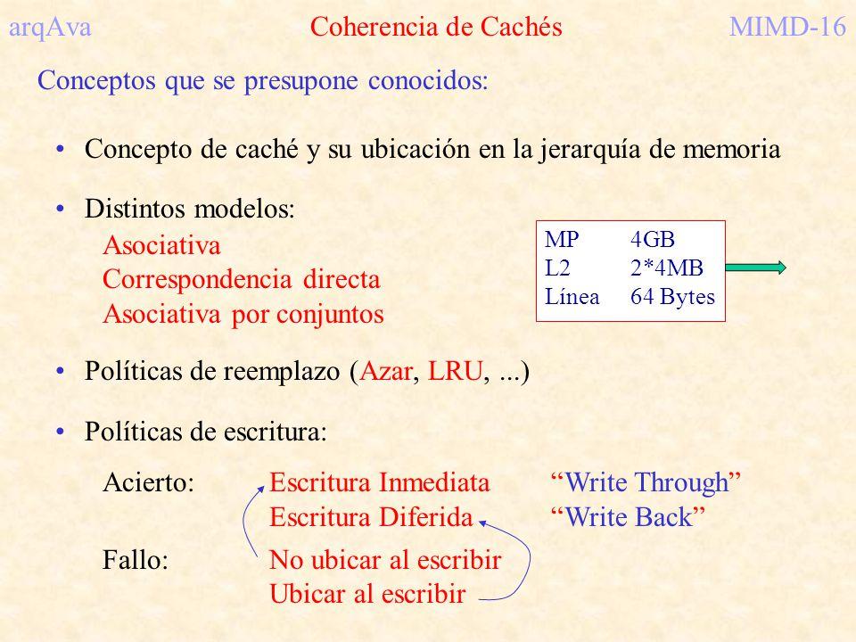 arqAva Coherencia de CachésMIMD-16 Conceptos que se presupone conocidos: Concepto de caché y su ubicación en la jerarquía de memoria Distintos modelos