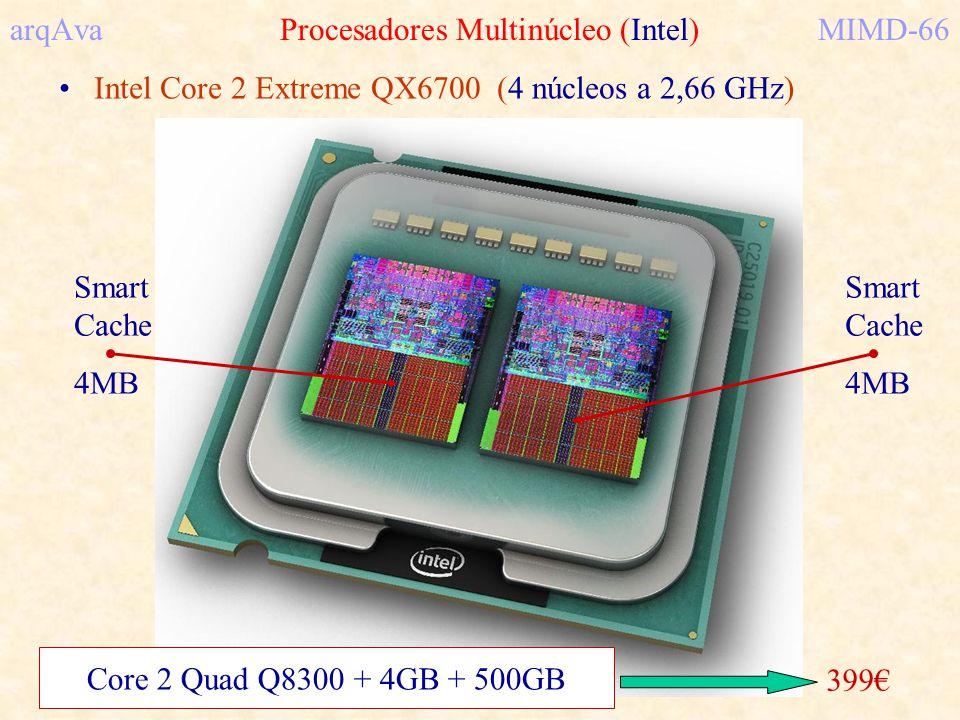 arqAva Procesadores Multinúcleo (Intel)MIMD-66 Intel Core 2 Extreme QX6700 (4 núcleos a 2,66 GHz) Smart Cache 4MB Smart Cache 4MB 399 Core 2 Quad Q830