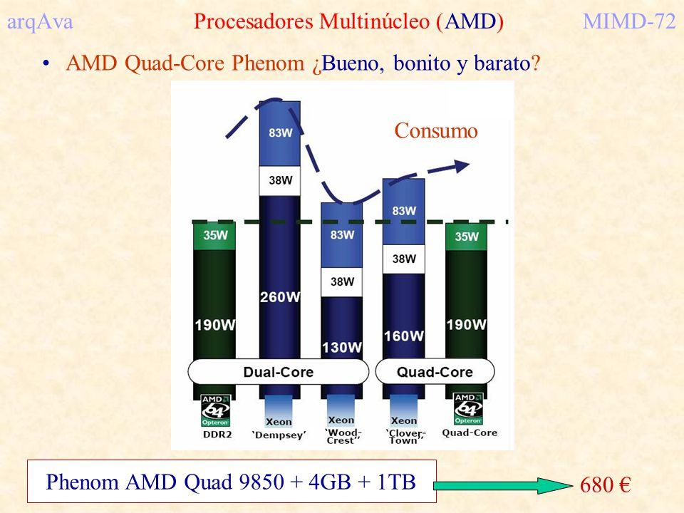 arqAva Procesadores Multinúcleo (AMD)MIMD-72 AMD Quad-Core Phenom ¿Bueno, bonito y barato? Consumo Phenom AMD Quad 9850 + 4GB + 1TB 680