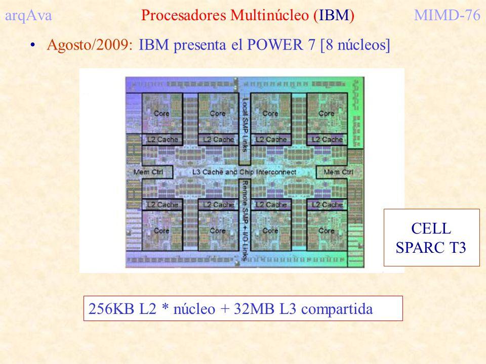 arqAva Procesadores Multinúcleo (IBM)MIMD-76 Agosto/2009: IBM presenta el POWER 7 [8 núcleos] 256KB L2 * núcleo + 32MB L3 compartida CELL SPARC T3