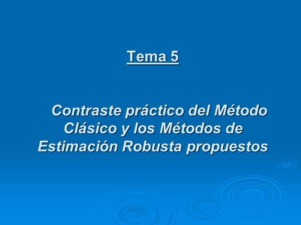 Tema 5 Contraste práctico del Método Clásico y los Métodos de Estimación Robusta propuestos