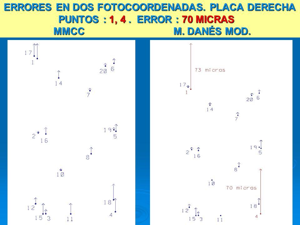 ERRORES EN DOS FOTOCOORDENADAS. PLACA DERECHA PUNTOS : 1, 4. ERROR : 70 MICRAS MMCC M. DANÉS MOD.