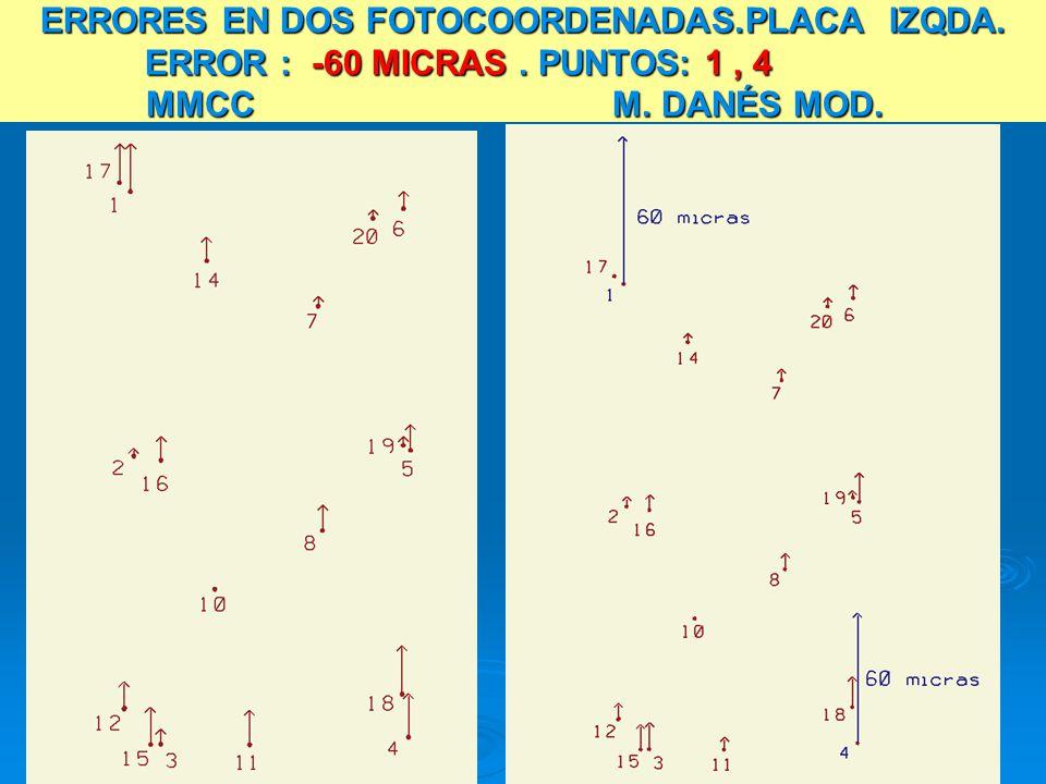 ERRORES EN DOS FOTOCOORDENADAS.PLACA IZQDA. ERROR : -60 MICRAS. PUNTOS: 1, 4 MMCC M. DANÉS MOD.