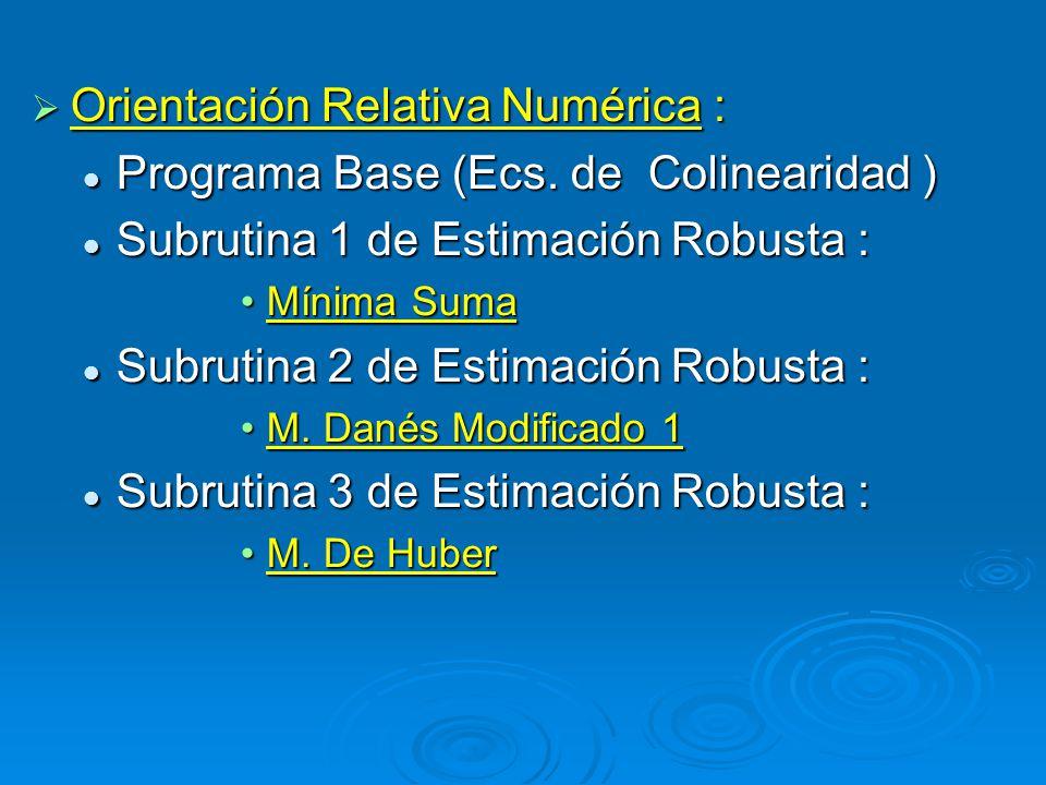 Orientación Relativa Numérica : Orientación Relativa Numérica : Programa Base (Ecs. de Colinearidad ) Programa Base (Ecs. de Colinearidad ) Subrutina