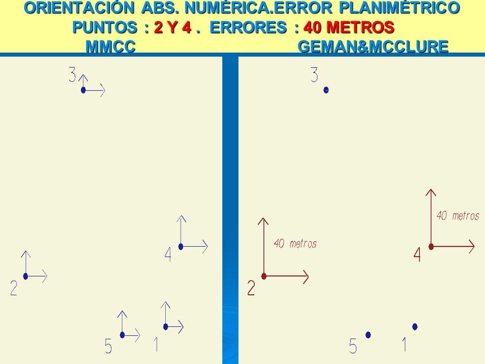 ORIENTACIÓN ABS. NUMÉRICA.ERROR PLANIMÉTRICO PUNTOS : 2 Y 4. ERRORES : 40 METROS MMCC GEMAN&MCCLURE