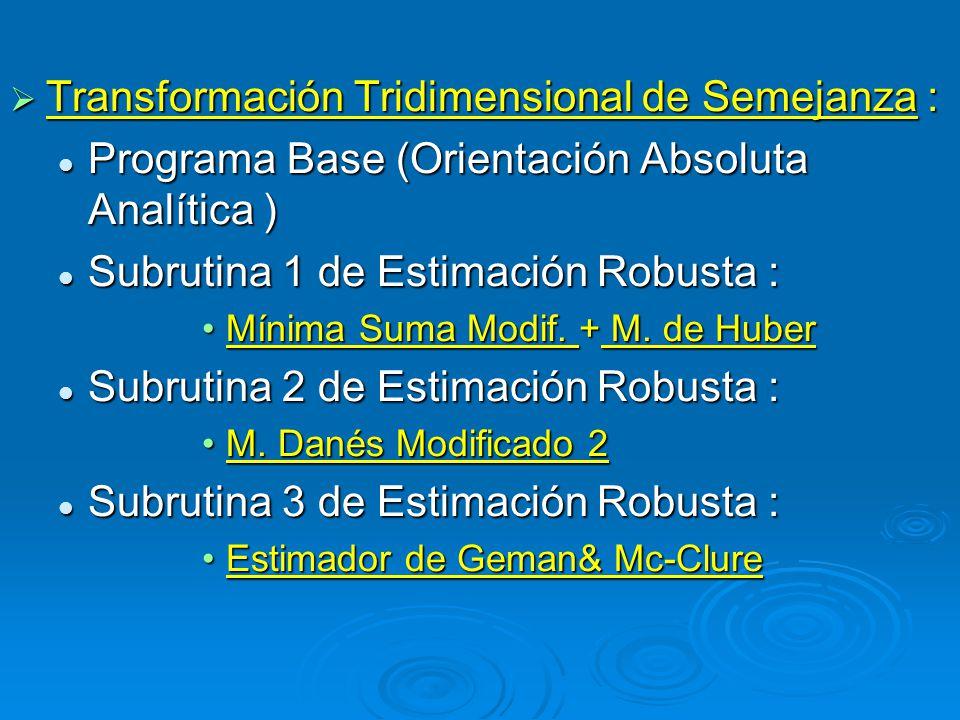 Transformación Tridimensional de Semejanza : Transformación Tridimensional de Semejanza : Programa Base (Orientación Absoluta Analítica ) Programa Base (Orientación Absoluta Analítica ) Subrutina 1 de Estimación Robusta : Subrutina 1 de Estimación Robusta : Mínima Suma Modif.