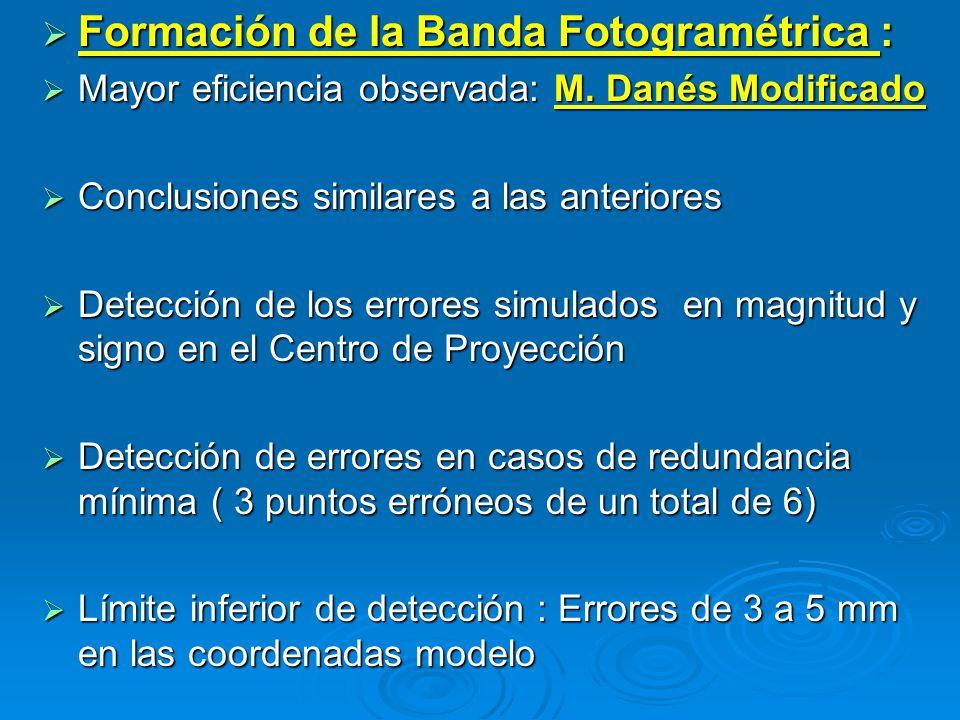 Formación de la Banda Fotogramétrica : Formación de la Banda Fotogramétrica : Mayor eficiencia observada: M. Danés Modificado Mayor eficiencia observa