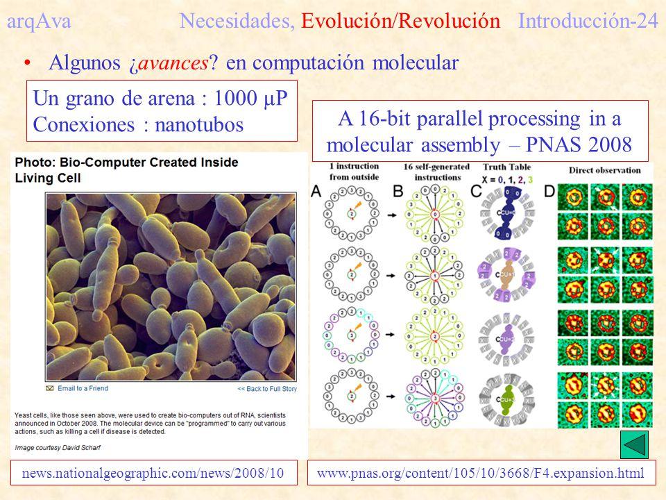 arqAva Necesidades, Evolución/RevoluciónIntroducción-24 Algunos ¿avances? en computación molecular A 16-bit parallel processing in a molecular assembl