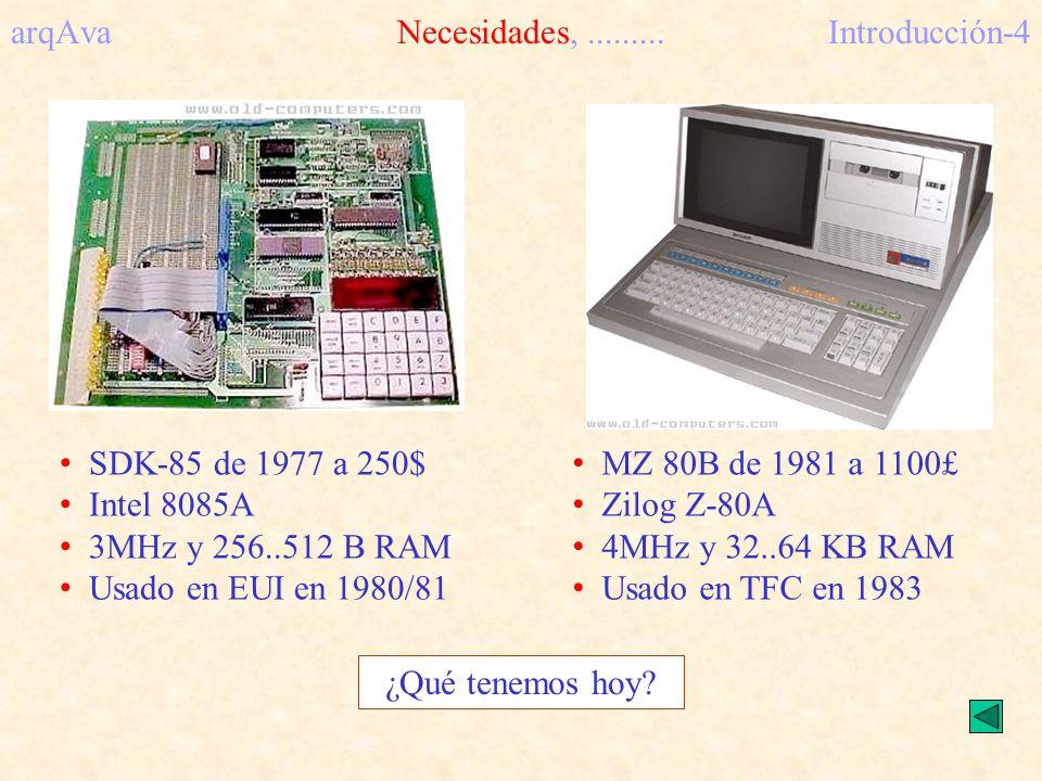 arqAvaNecesidades,.........Introducción-4 SDK-85 de 1977 a 250$ Intel 8085A 3MHz y 256..512 B RAM Usado en EUI en 1980/81 MZ 80B de 1981 a 1100£ Zilog