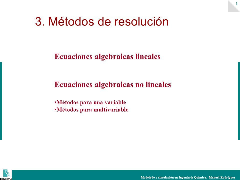 Modelado y simulación en Ingeniería Química. Manuel Rodríguez 1 Ecuaciones algebraicas lineales Ecuaciones algebraicas no lineales Métodos para una va