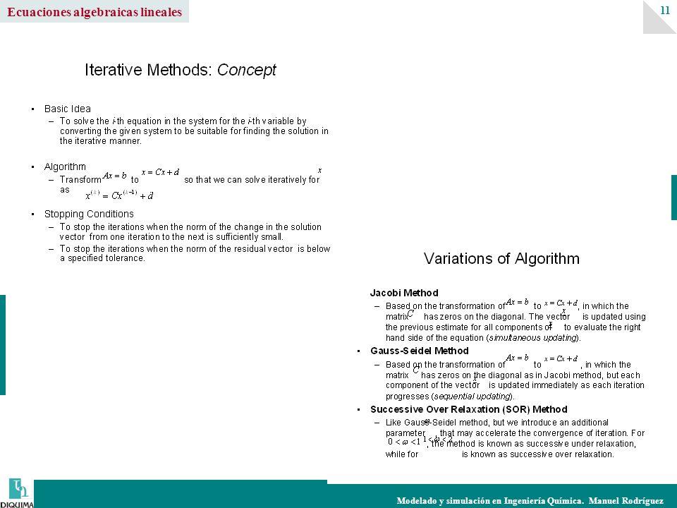 Modelado y simulación en Ingeniería Química. Manuel Rodríguez 11 Ecuaciones algebraicas lineales