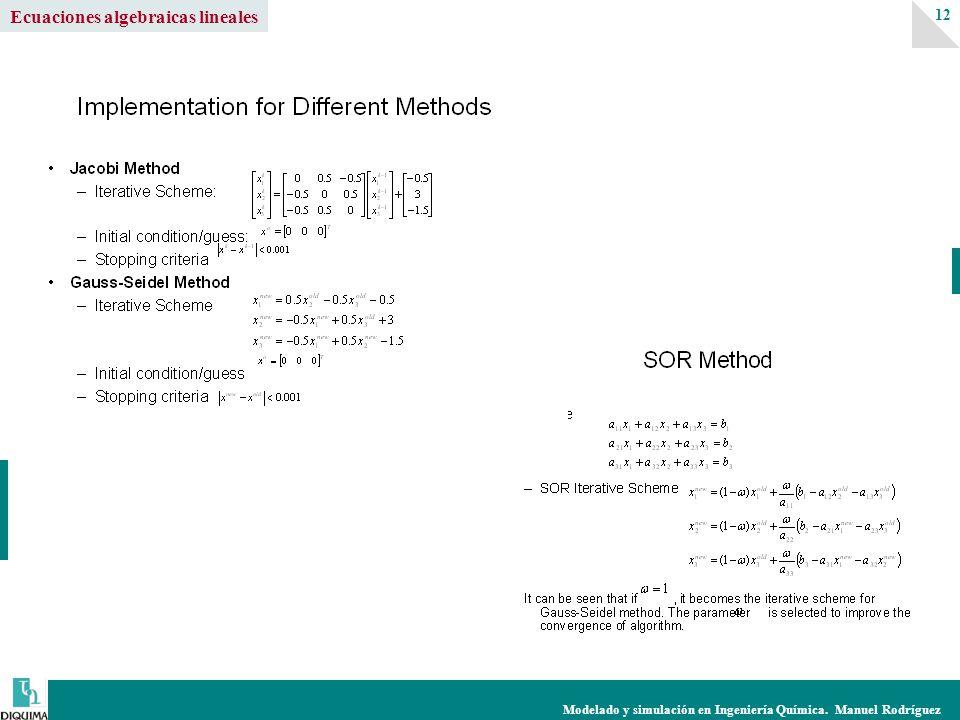 Modelado y simulación en Ingeniería Química. Manuel Rodríguez 12 Ecuaciones algebraicas lineales